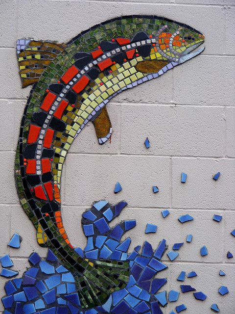 Fish Mosaic - i think this would be great using the same water technique but with a goldfish or koi