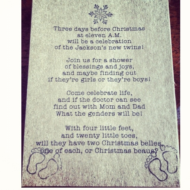 poem for christmas themed twin gender reveal baby shower