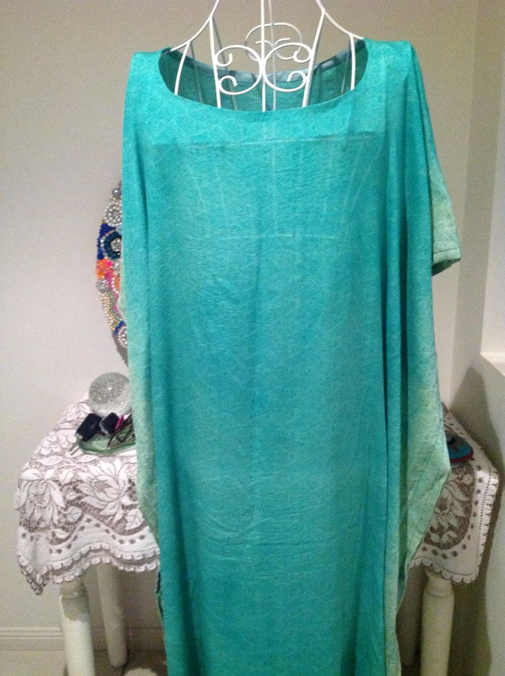 Pale Jade pure silk  Caftan  kaftan plus size 16-26 RESORT wear, throw over, made in Australia, casual wear, cocktail hour by curvaciousyouclaire on Etsy
