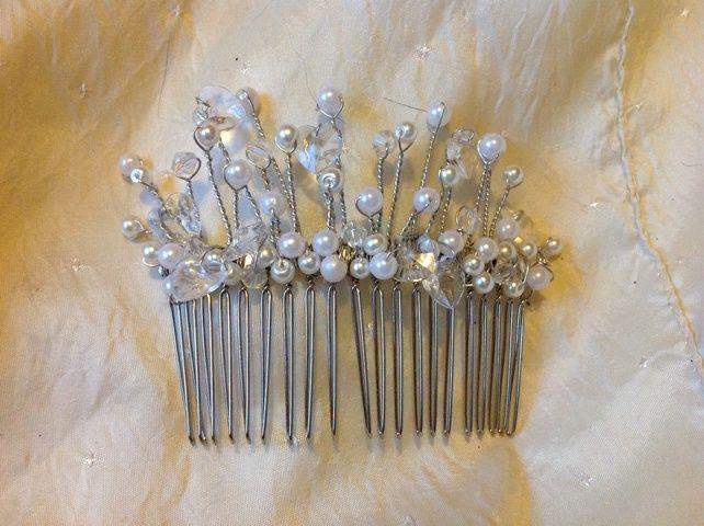 Bride Bridesmaids Ivory Hair Comb Handmade - Wedding Hair Slide -Katie  £25.00