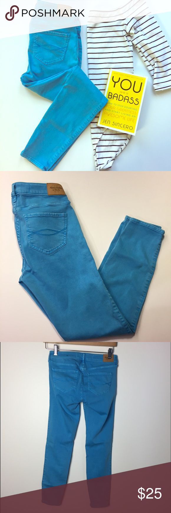 "A&F Cyan Blue Super Skinny Jeans - Ankle Length Lovely Abercrombie & Fitch colored super skinny jeans in cyan blue/turquoise. Ankle length. EUC. Super soft and stretchy. Waist 27"", inseam 26"". Perfect for spring! Abercrombie & Fitch Jeans Skinny"