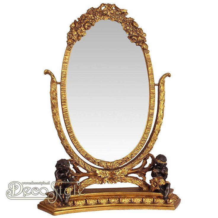 Goudkleurige Tafel Spiegel met Engelen