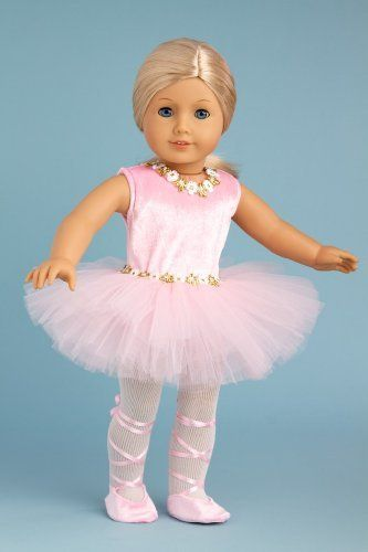 Prima Ballerina - 3 piece ballerina outfit includes pink leotard with tutu, white tights and ballet shoes - 18 Inch Doll Clothes  Price : $23.97 http://www.dreamworldcollections.com/Prima-Ballerina-ballerina-leotard-Clothes/dp/B008053A6S
