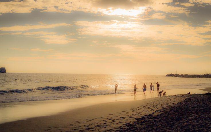Enjoying the dusk - Dusk time at Pacific Ocean in Mexico Playa Larga beach