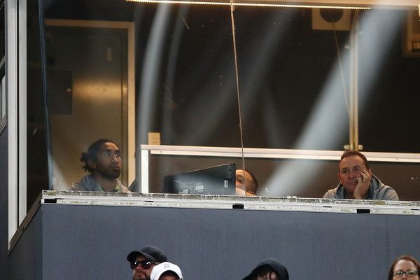 Sia Soliola and Ricky Stuart of the Raiders look on from the coaches box during the round 21 NRL match between the South Sydney Rabbitohs and the Canberra Raiders at ANZ Stadium on July 29, 2017 in Sydney, Australia.