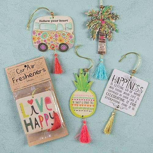 Natural Life Air Fresheners make every space brighter and happier! Scented with essential oils, these car air fresheners smell great and feature gift-able shapes and heartwarming sentiments… perfect for hanging in the car, locker, bathroom, bags and more!