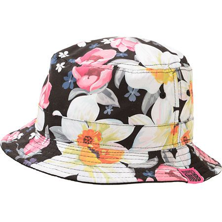 A fun tropical floral print on a poly microfiber bucket hat for women provide fun style and soft comfort with a wide brim for shade and Married To The Mob brand tag.