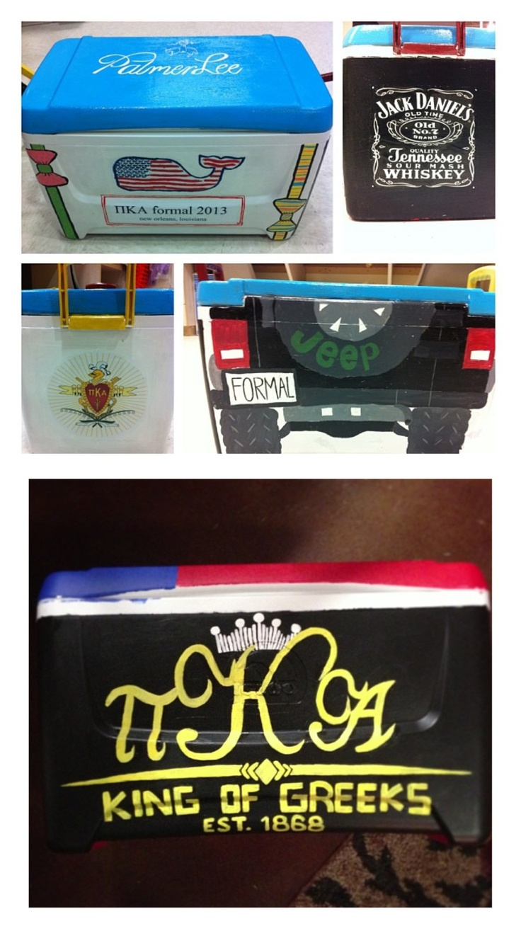 pi kappa alpha painted coolers