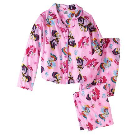 My Little Pony Girls' Button Down Top and Bottom Pajama 2-Piece Set, Size: 10/12, Pink