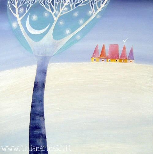 La luna, tra i rami, in inverno - by Tiziana Rinaldi #winter #snow #painting #art