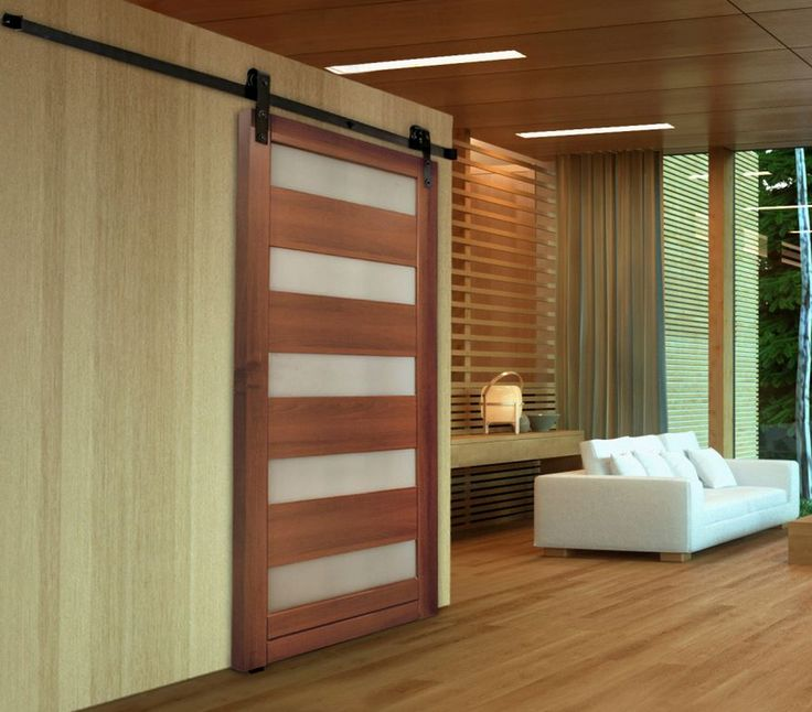 modern 5 lite sliding door using flat track hardware with soft close allows light and