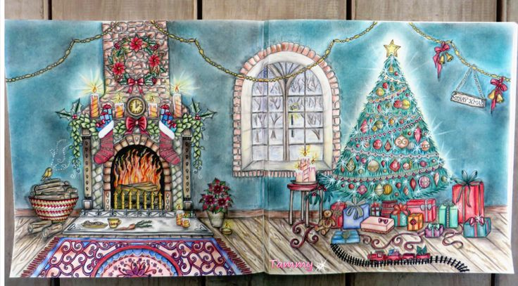 My Christmas Living Room Double Page Johannas Johanna Basford