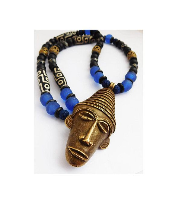 African Necklace Men Jewelry Tribal Ethnic Large Beaded Men Jewelry Blue Black Gift Ideas for Him Africa Pendant | Pinterest | African necklace
