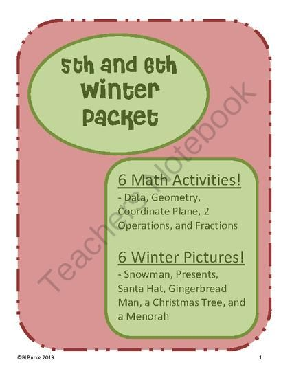 5th 6th large winter christmas packet math coloring pictures 6 activities from. Black Bedroom Furniture Sets. Home Design Ideas