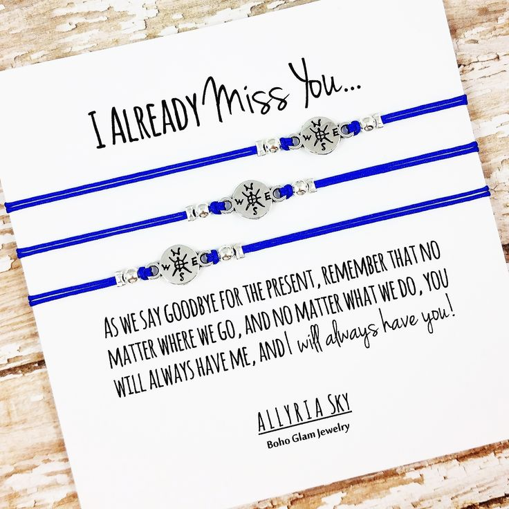 "Set of THREE Charm Friendship Bracelets with ""I Miss You"" Card 