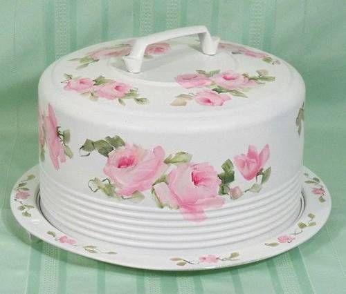 Vintage Shabby HP Roses Cake Carrier Cover Plate Chic | eBay