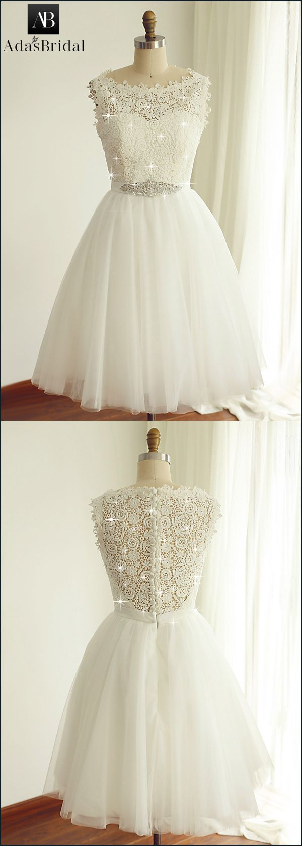 Modest Tulle & Lace Bateau Neckline Sleeveless Short Length A-line Wedding Dresses With Beadings