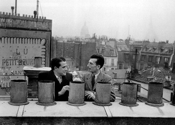 Robert Doisneau // Roger Vaillant And Pierre Courtade, over the roofs of Paris,1945. ( http://www.gettyimages.co.uk/detail/news-photo/over-the-roofs-of-paris-news-photo/121512549