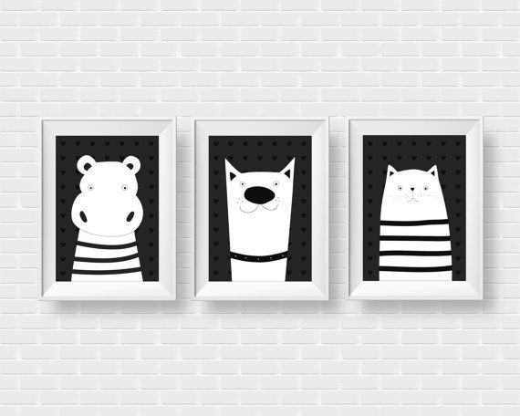 Modern 3 set animal illustrations. Wall by GraphicCorner on Etsy