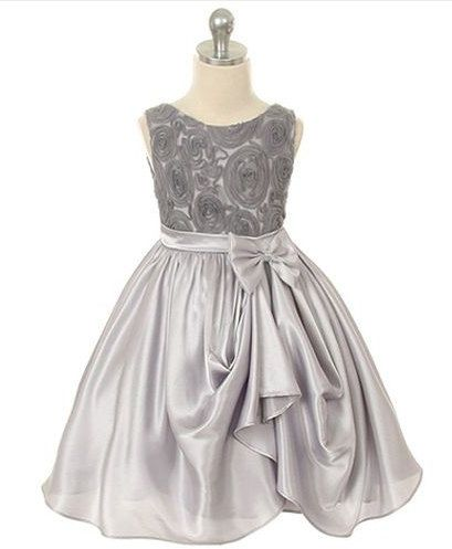Flower Girl  Dress Grey Rosette Embroidered Satin  Girls Toddler Christmas Special Occasion Dress Size 2T-14