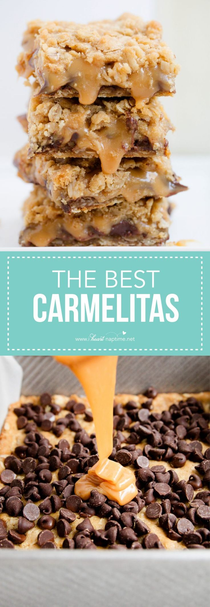 Ooey gooey carmelitas recipe -a soft and chewy brown sugar oatmeal cookie crust with a thick layer of chocolate and caramel. Take one bite and you'll be hooked!