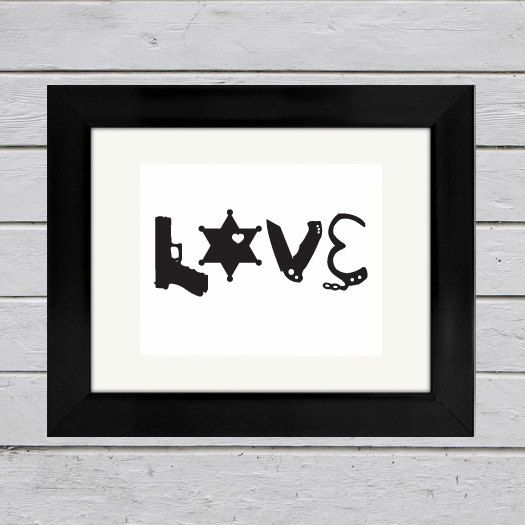 Deputy Sheriff LOVE Silhouette Print | Law Enforcement Gift | Sheriff Wedding | Sheriff Wife | Sheriff Girlfriend | Anniversary Gift by Huckleberry515Design on Etsy
