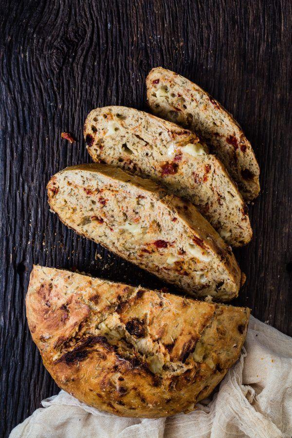 Super easy Asiago sun dried tomato bread