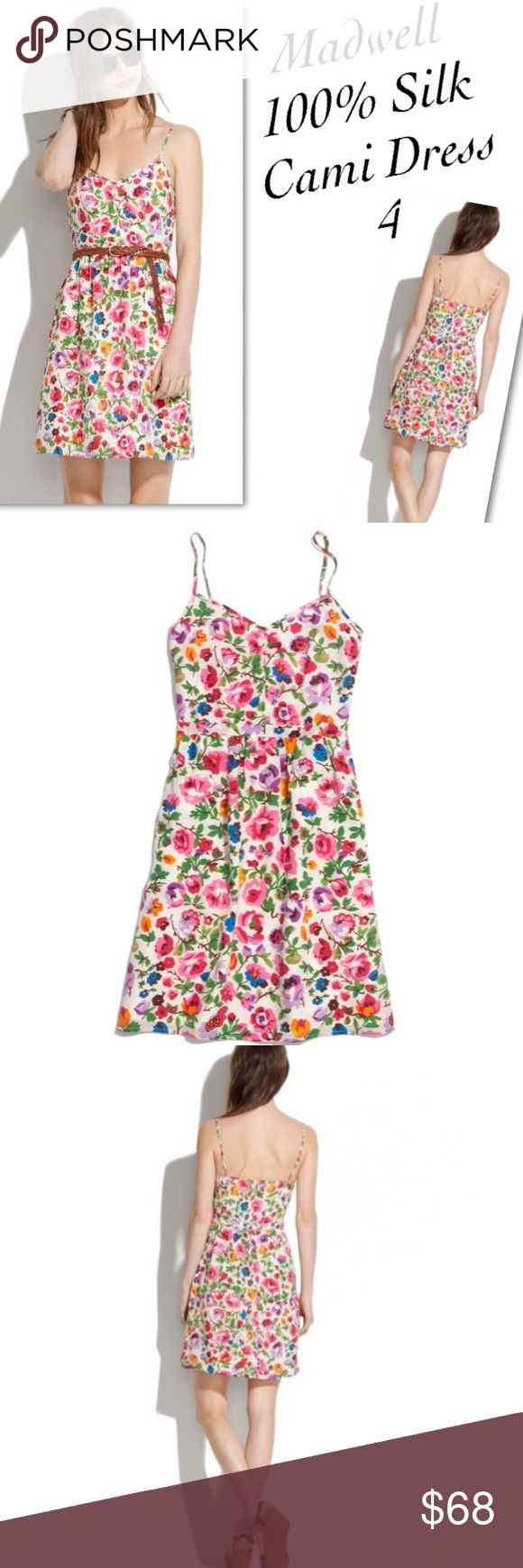 ⤵️Madwell 100% Silk Floral Cami Dress 4 Excellent pre-owned condition. No flaws or signs of wear. Adjustable straps. 1/2 zip down the back. Size 4. TTS Madewell Dresses