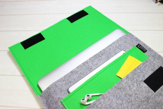Macbook case, felt, laptop sleeve, gray laptop case, Macbook Air case, MacBook Pro sleeve, laptop pouch, 13 inch, laptop case, green, gift