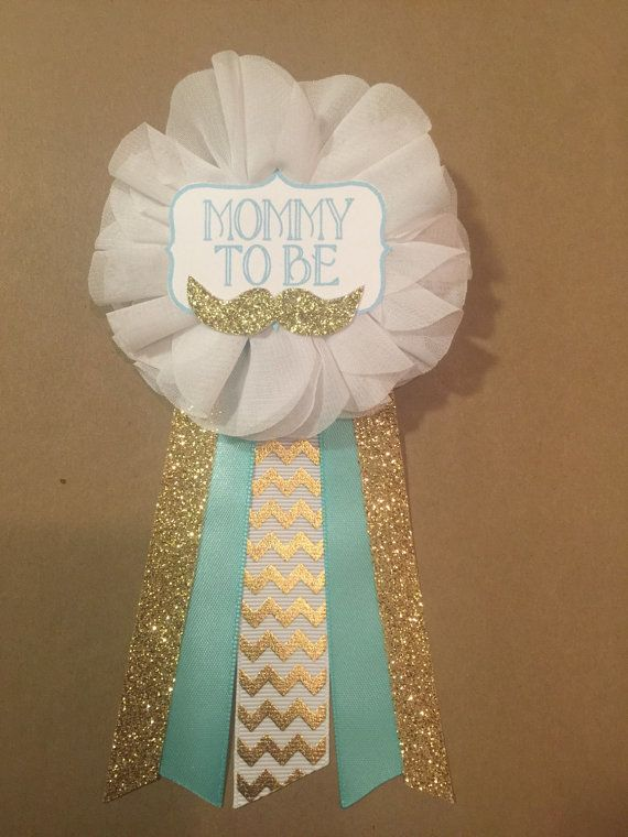 Gold Mustache Teal Baby Shower Mommy-to-be Flower Ribbon Pin Corsage Glitter Rhinestone Mommy Mom New Mom gold chevron