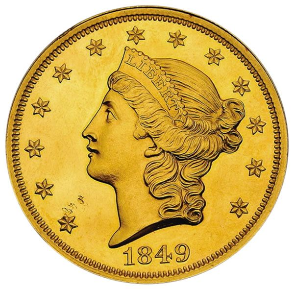 "Smithsonian's 1849-dated ""Double Eagle"" 20 dollar denomination gold piece…"