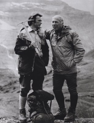 Clint Eastwood and George Kennedy on the set of The Eiger Sanction filmed in Grindelwald, Switzerland in 1974 - Did you know #Marmot jackets did get famous through this classic movie?  loved this movie