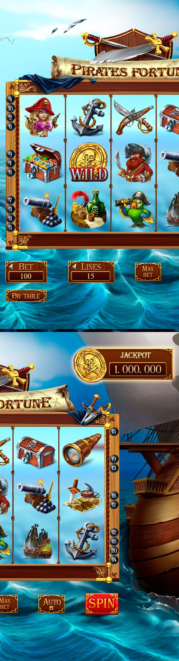 "Slot-machine - ""Pirate fortune"" on Behance"