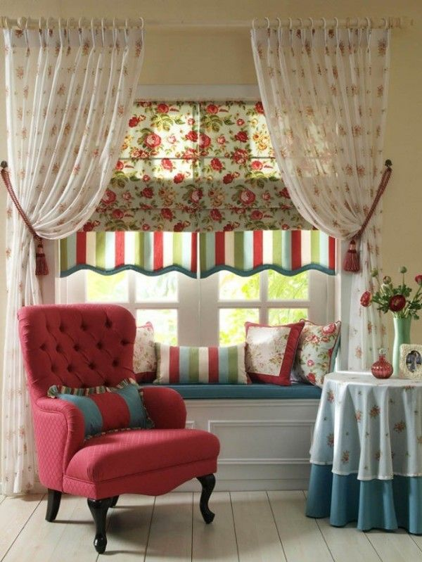 Country style curtains idea (not ideal proportions, but lovely fabric combination) | Tempo libero pourfemme