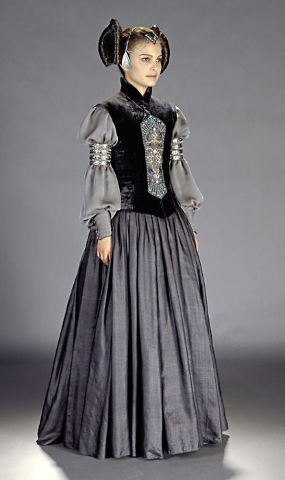 Star Wars: Episode II - Attack of the Clones, 2002  Costume design: Trisha Biggar  corseted bodice dress with Thai silk skirt, beaded & embroidered front piece and metal arm cuffs worn by Natalie Portman in the role of Padmé Amidala