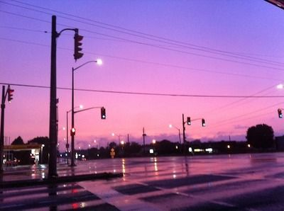 ivoryunknown:  I just drove past this intersection and it's pouring rain and just look at how eerily beautiful it looks