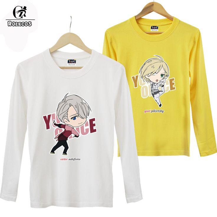 ROLECOS New Anime Yuri!!! on Ice Cosplay Costume Victor Nikiforov Yuuri Katsuki Yuri Plisetsky Print Long Sleeve Autumn T Shirt #Affiliate