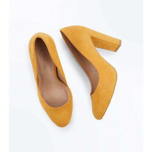 Wide Fit Mustard Suedette Block Heel Courts ($27) ❤ liked on Polyvore featuring shoes, pumps, wide shoes, wide fit shoes, wide width shoes, mustard shoes and wide width pumps