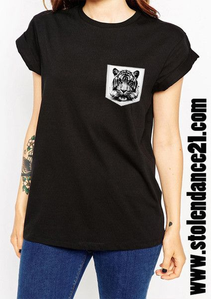 Tiger Face Real Pocket Tee Crew Neck Top T shirt code50583