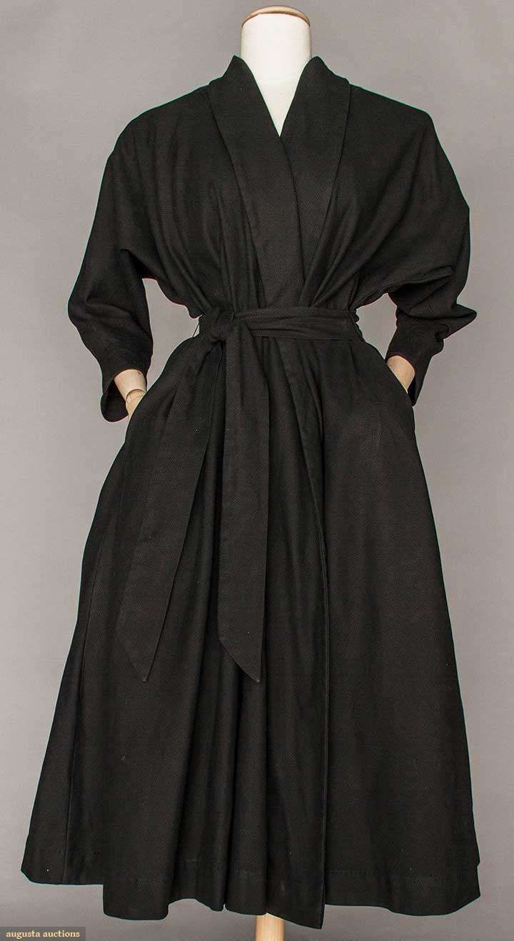 CLAIRE McCARDELL BLACK COTTON COAT, 1950s