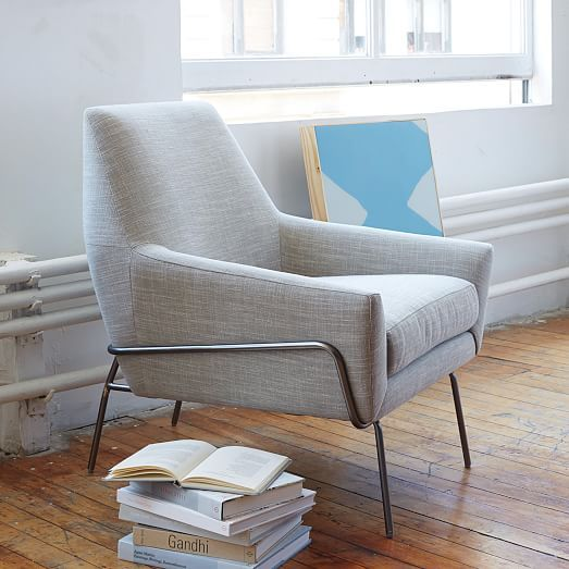 Lucas Wire Base Chair Linen Weave Platinum west elm $599 the place