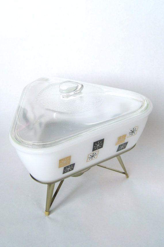 vintage 1960s Inland Glass atomic snowflake retro triangular chafing casserole dish by fuschiafoot, $29.99