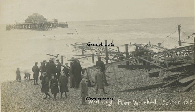 Worthing Pier 1913 destroyed by storm. West Sussex