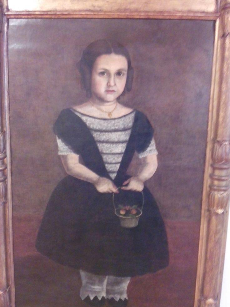 retrato de la niña Ines Uribe Barrientos anónimo (atribuido al taller figueroa) siglo XIX Oleo sobre lienzo