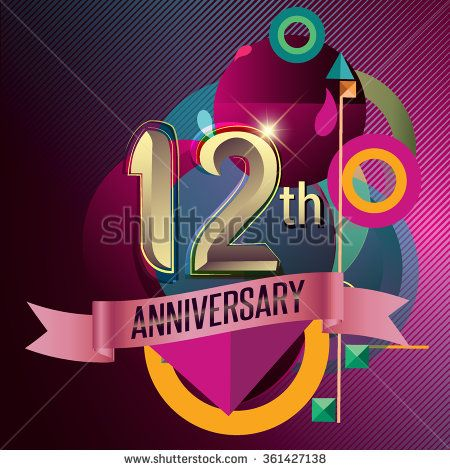 12th Anniversary, Party poster, party invitation - background geometric glowing element. Vector Illustration - stock vector