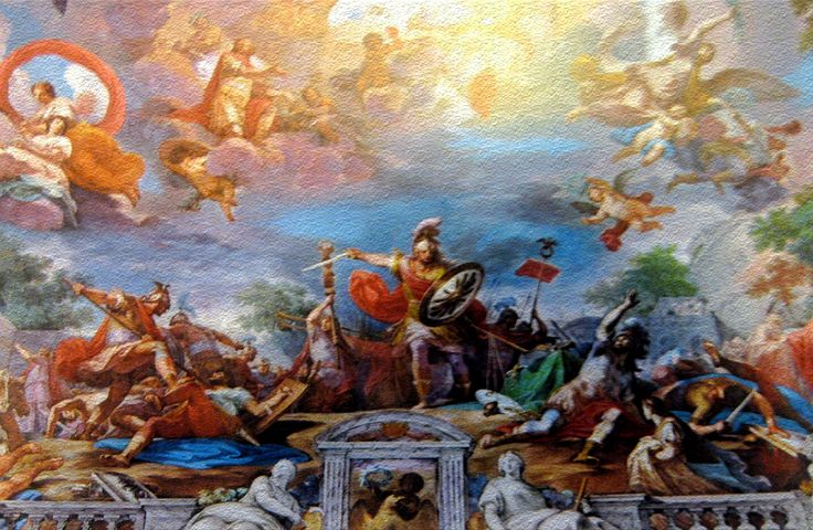 """""""Romulus welcomed Olympus by Jupiter"""" a fresco by Sicilian Artist, Mariano Rossi (1731 - 1807)."""