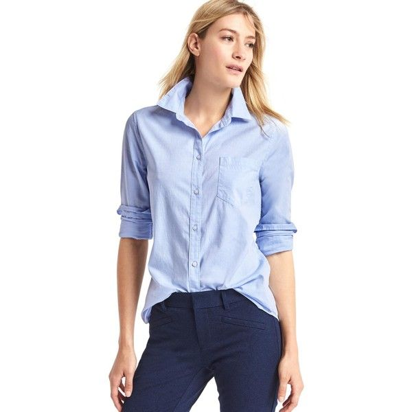 Gap Women New Fitted Boyfriend Oxford Shirt ($30) ❤ liked on Polyvore featuring tops, tall, blue top, petite tops, button front top, long sleeve oxford shirt and fitted tops