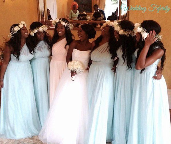 Blue Bridesmaids Dresses for Nigerian Weddings in Different shades of blue - Navy Blue, Teal Blue, Turquoise Blue and much more.