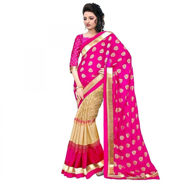 Buy Beige - Pink Half & Half Saree for womens online India, Best Prices, Reviews - Peachmode