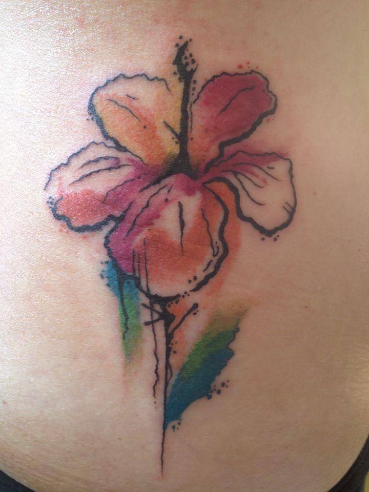 Aquarela. Watercolor. Hibisco. Tattoo